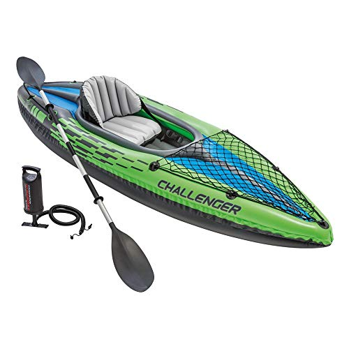Set de Bote Inflable INTEX Explorer, Kayak de Dos Personas con Oars Boat Oars INFLATOR Dinghy Bomba (Simple, Doble),1Person