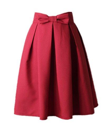 Uideazone Teens Midi Knielänge Rock Frauen gefaltet Flared A Line Röcke Kleid