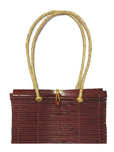 Tasche aus Bambus im japanischen Stil, Umhängetasche Bordeaux-Rot