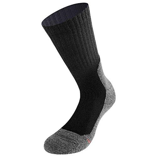Lenz Unisex Trekking 5.0 Outdoor Strümpfe 2er Pack Herren Damen Wandern Running Socken Merino, 062, Farbe Schwarz, Größe 35 - 38