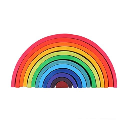 cineman Rainbow Stacking, 12 STK. Wooden Rainbow Geometry Bricks Lernspielzeug, Pädagogisches Spielzeugpuzzle Zur Entwicklung Von Touch, Farbklärung, Fantasie Und Kreativität -