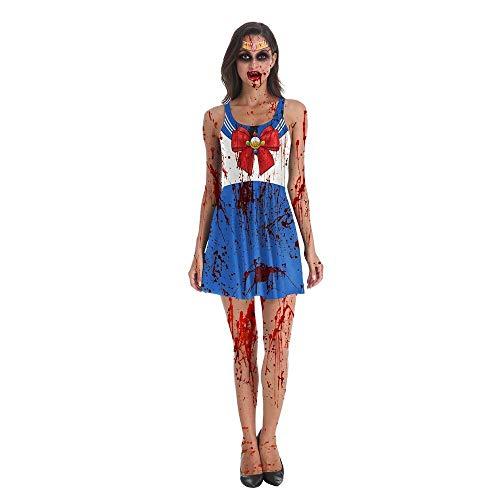 lkouq Halloween Kostüme Sailor Moon Kleid Zombie Cosplay Fancy Female Sailor Moon Kostüme Spooky Blood Splatter Kostüm (Fancy Sailor Kostüm)