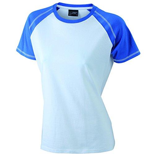 JAMES & NICHOLSON Damen T-Shirt, Einfarbig Blanc et royal