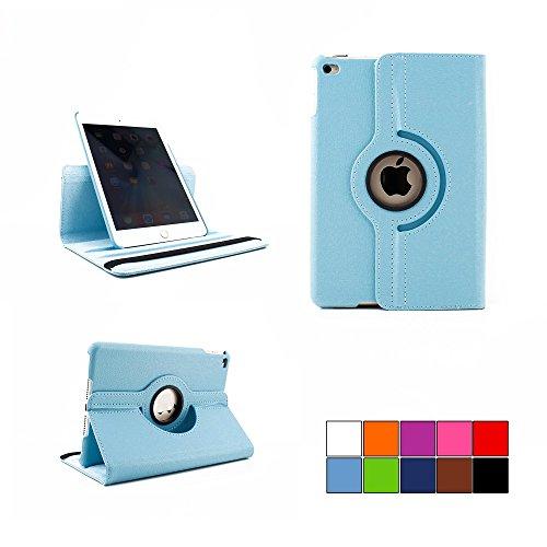 COOVY® Cover für Apple iPad mini 4 Retina ROTATION 360° SMART HÜLLE TASCHE ETUI CASE SCHUTZ STÄNDER | Farbe hellblau