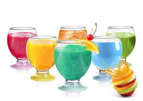 Elegantes 6er Gläser Set Bunte Füße Wassergläser Saftgläser 280ml Trinkgläser