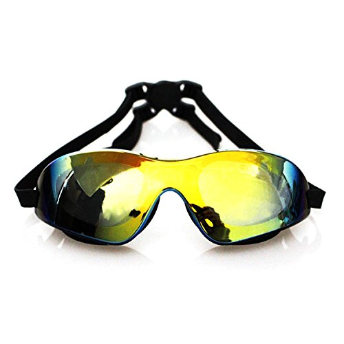 Swimming Goggles Mirrored Swim Protective Glasses Premium Comfortable Soft Silicone Goggles with Adjustable Fitting Strap Water Sport No Leaking Protection (black)