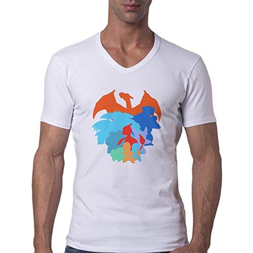 Pokemon Starter Colourful Design Herren V-Neck T-Shirt Weiß