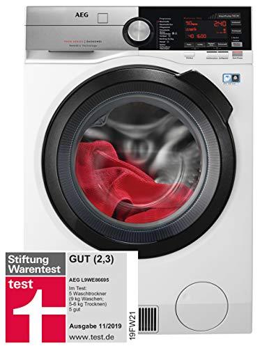 AEG L9WE86695 Waschtrockner mit Wärmepumpe / SensiDry - schonend und energiesparend / 9,0 kg Waschen / 6,0 kg Trocknen / Mengenautomatik / Nachlegefunktion / ProSteam - Auffrischfunktion / Kindersich