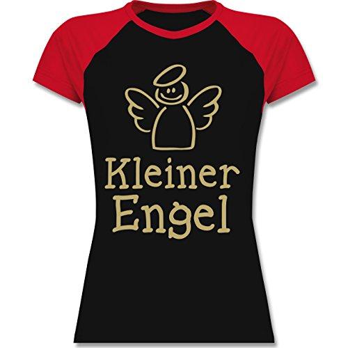 Shirtracer Typisch Frauen - Kleiner Engel - Zweifarbiges Baseballshirt/Raglan T-Shirt für Damen Schwarz/Rot