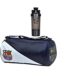 5 O' CLOCK SPORTS Gym Bag Combo Set Enclosed with Soft Leather Gym Bag for Men Fitness - Blue FCB, Black Cyclone Shaker