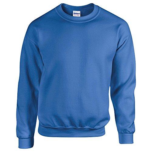 Gildan, felpa morbida, da adulto, scollo rotondo, 50/50 cotone e poliestere, tinta unita blu cobalto