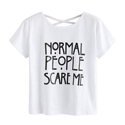Preisvergleich Produktbild Mallorma® Frauen Damen Buchstaben Druck T-Shirt Kurzarm Casual Tops Bluse Normal People Scare Me (XL,  weiß)