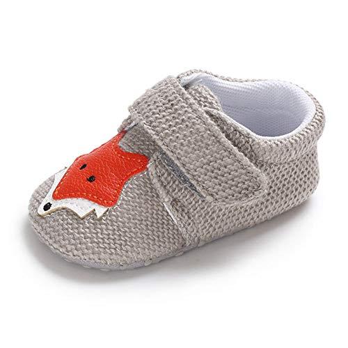 QINJLI Baby Schuhe, 0-1 Jahre altes Kleinkind Schuhe Stricken Fuchs Klett weichen Boden Slip Licht atmungsaktiv 11-13cm