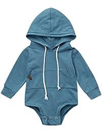ropa de bebé, Honestyi Recién nacido bebé niño niña con capucha mameluco Jumpsuit Tops trajes ropa