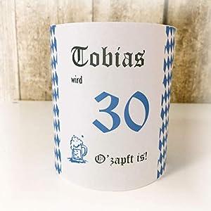 4er Set Tischlicht Tischlichter Oktoberfest Bayern bayrisch runder Geburtstag 40 50 60 70 80 90 Tischdeko personalisierbar Rauten blau