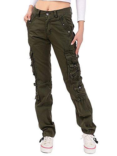 OCHENTA Womens Combat Casual Cargo Ocho Bolsillo Militar Ejército Pantalones de Mujer Verde Etiqueta 30-EU 38