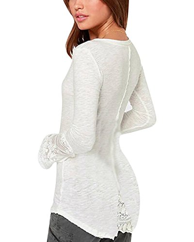 Minetom Sexy T-shirt dentelle Pull- Col V dentelle - Manches longues - Femme Clubwear Blouse Blanc