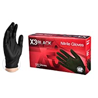AMMEX Black Nitrile 3 Mil Disposable Gloves - Powder-Free, Latex-Free, XLarge, Box of 100