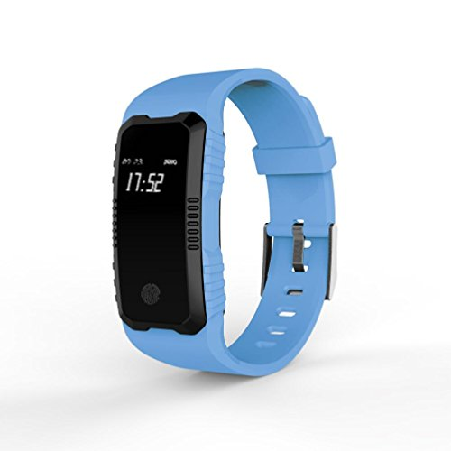 LCLrute Mode Hohe Qualität H1 Herzfrequenz Blutdruckmessgerät Slot Handgelenk Wasserdichte Bluetooth Smart Watch (Blau)