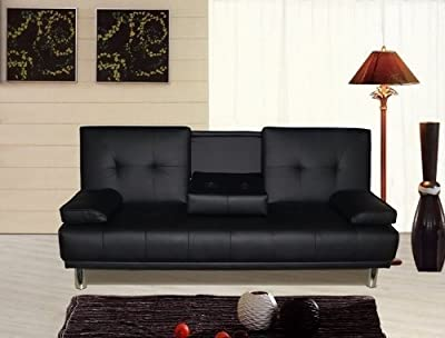 Manhattan 3 Seater Sofa Bed With Cup Holders Black - low-cost UK sofabed shop.