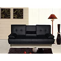 Sleep Design Manhattan 3 Seater Sofa Bed With Cup Holders Black