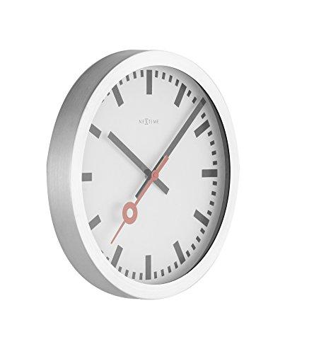"""NeXtime Wanduhr Tischuhr Bahnhofsuhr \""""STATION\"""", lautlos, rund, Weiß, ø 19 cm"""
