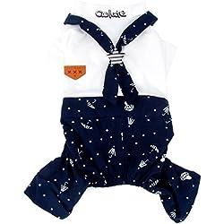 Smille_Lucky_store - Disfraz de marinero pequeño para chico, traje de chica a juego, ropa para cachorro estampada (apto para mascotas pequeñas)