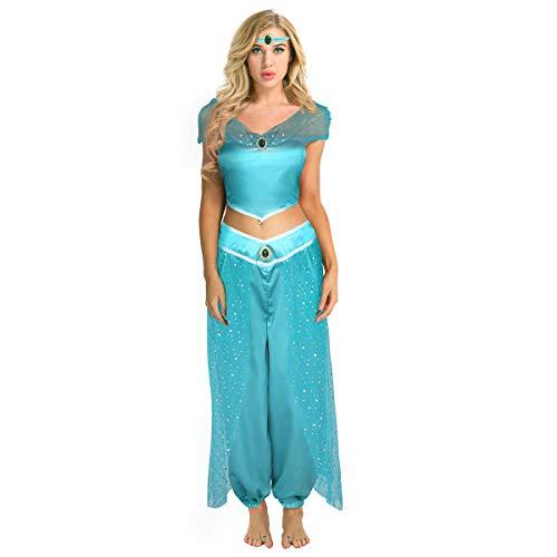 Alvivi 3Pcs Damen Jasmin Prinzessin Kostüm Paillette Schulterfrei Ärmellos Top Hose Stirnband Set Karneval Cosplay Kostüme Blau Medium