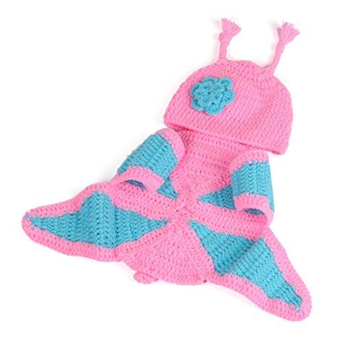 Sharplace Schmetterling Baby-Kostüm Fotografie Prop Süss Crochet häkeln Strickmütze Hut Cap Junge - Rosa, one size
