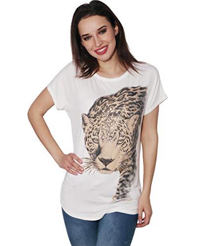 Damen T-Shirt Tierdruck Leoparden Animal Print Top; Cremeweiß (3277); 38; 3277-CRM-10