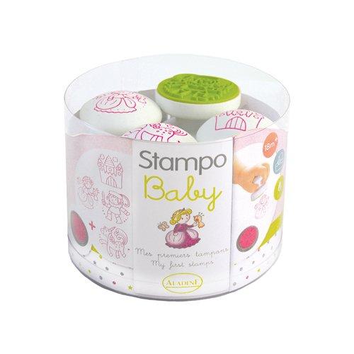 ALADINE 55214 Stampo Baby Märchen Spielset, 4 Stempel und 1 Stempelkissen, pink