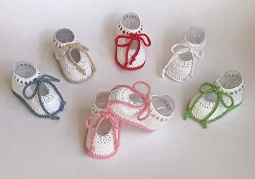 Patucos de ganchillo, hechos a mano, para bebés, de 0-3 meses y de 3-6 meses. Temporada Primavera-Verano...