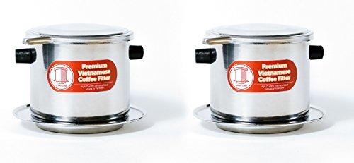 Thang Long 2er Pack Vietnamesischer Kaffee Filter Brewer. Ideal für Reisen und Camping, 325lml groß, Gravity Insert -