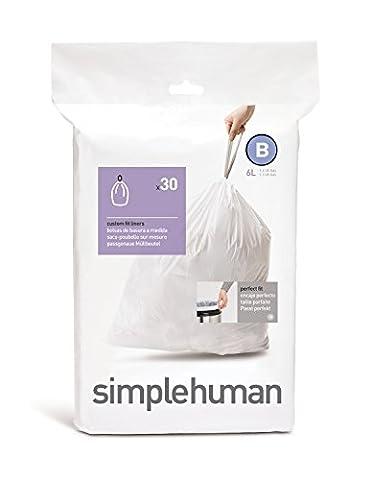 simplehuman - Code B, Custom Fit Bin Liners, 30 Pack