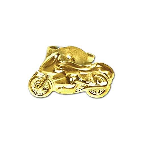 CLEVER SCHMUCK Goldener einzelner Single Ohrstecker Motorrad 9 x 5 mm nach links fahrend glänzend 333 GOLD 8 KARAT 1 Stück im Etui (Shopper Stud)