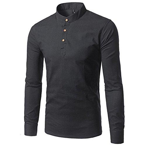 Mirecoo Herren lässig fit Langarm Leinen-hemd Freizeithemd Shirts Schwarz