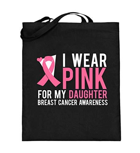 I Wear Pink For My Daughter - Breast Cancer Awareness - Brustkrebs-Bewusstsein, Krebskrank - Jutebeutel (mit langen Henkeln)