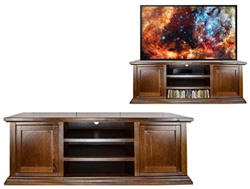 Maury's arte povera mobile porta tv maxi schermo fino a 70 pollici in legno noce con 2 ante e 3 ripiani 46x160x56cm