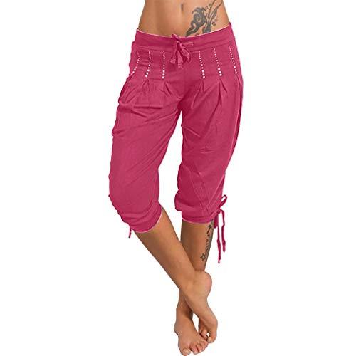 Damen Bermuda Shorts Dasongff Bequeme Kurze Haremshose Knielang Lange Strandhosen Chic Strass Glänzend Sommerhose Tunnelzug Chinohose Modisch Freizeithose (Pink, XL)