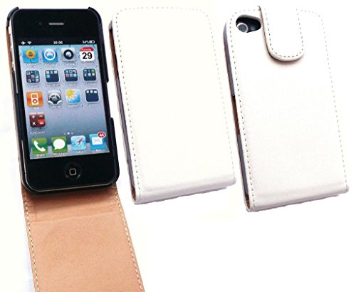 Emartbuy® HD Luxury PU Leather Flip Case Cover Pouch White / Tan For Apple iphone 4 / 4g / 4s  available at amazon for Rs.249
