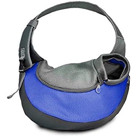 Sannysis Capazos para mascotas mochila perros arneses de seguridad (Azul, M)