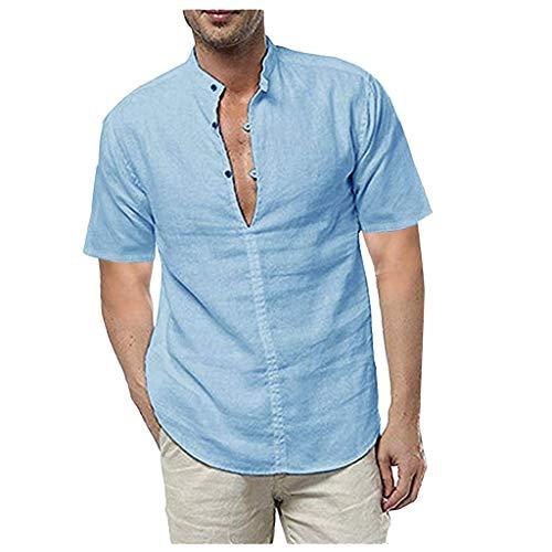 UINGKID Herren T-Shirt Kurzarm Slim fit Leinen Sommer Solide Shirts Beiläufige Lose Kleid Soft Tops T