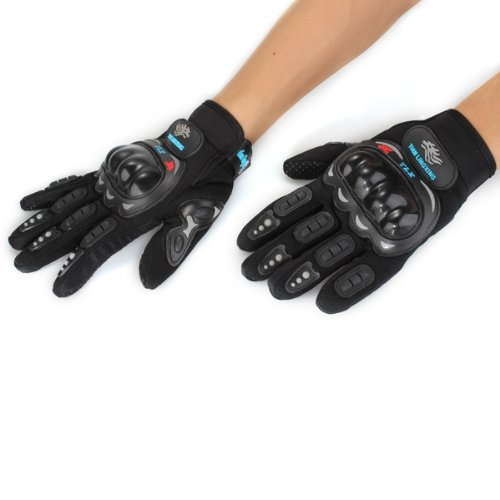 PAR GUANTES DEDO COMPLETO NEGRO PROTECCION PARA MOTO CICLISMO BICI BICICLETA