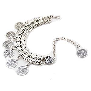 Bishiling Fußschmuck Fußkette Boho mit mit Münzen Muscheln Stand Kette Silber