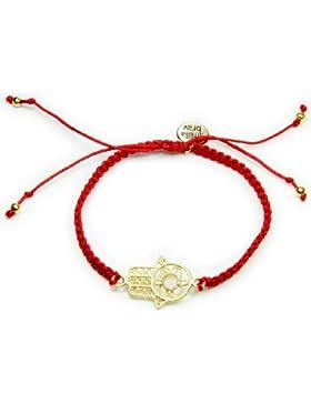 Smilla Brav Damen-Armband HAMSA - rot / goldplattiert - Hand der Fatima Chakra Energie-Armband