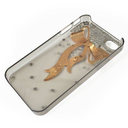 3D Crystal iPhone Case for AT&T Verizon Sprint Apple iPhone 4/4S Gold and Black Bow From seven17color 3d Crystal With Butterfly