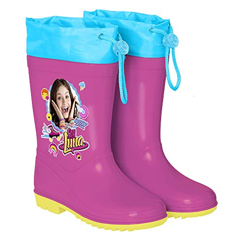 PERLETTI Disney Channel Soy Luna Rain Boots for Girls - Waterproof Wellies Shoes with Anti Slip Outsole - Colored Wellington for Girls with Luna and Stickers - Pink Yellow Sole - 5 Size