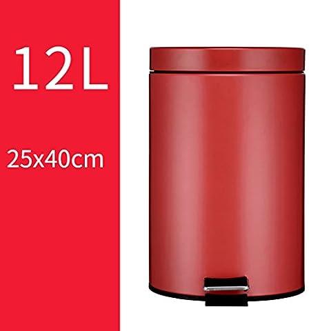 Home & Kitchen Stainless Steel Trash Can ,Round Step Storage Barrel Wastebasket 12L(25*40CM) ( Color : D , Size : 12L(25*40CM)