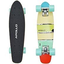 """Apollo Fancy Board - Maui Mini - Vintage Cruiser Complet Board, Tamaño: 22.5"""" (57,15 cm), Color: azul, el pequeño manejable Skateboard,…"""