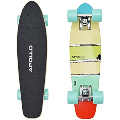 Apollo Fancy Board, Vintage Mini Cruiser Skateboard completo, 22.5 inch (57,15 cm), Mini Madre con legno o plastica Deck, Wooden Fancy Maui Mini